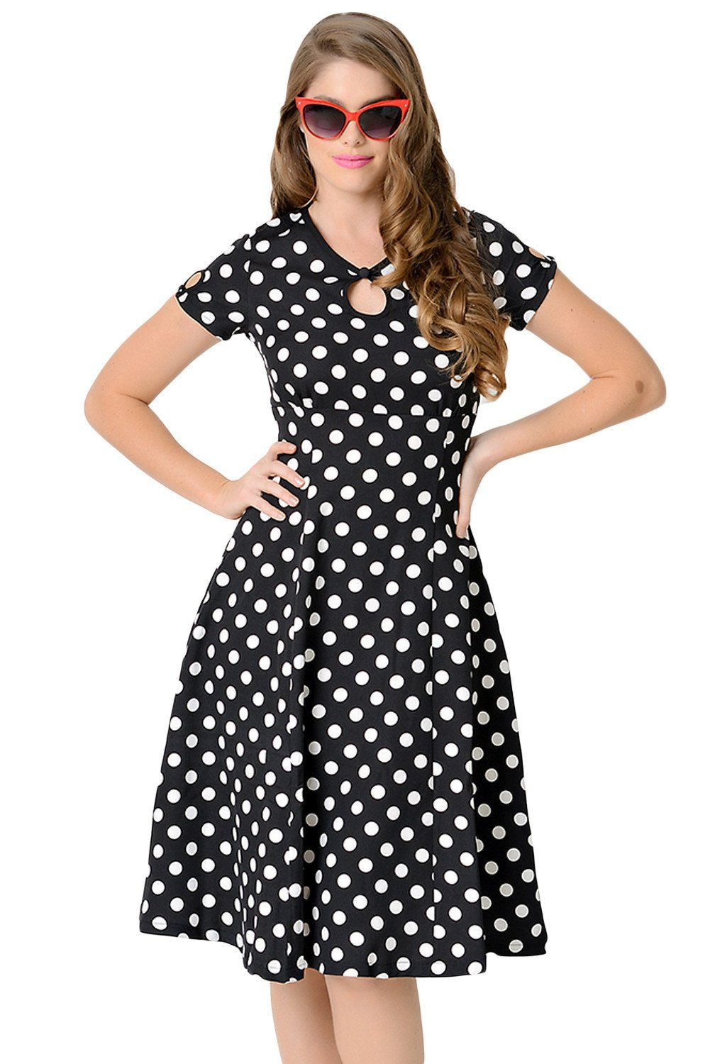 Vintage Robes Noir   Blanc Dotted Cap Sleeve Robe Trapeze Pas Cher  www.modebuy.com  Modebuy  Modebuy  CommeMontre 1aa13af4dfd3