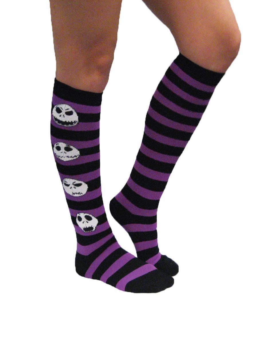Nightmare Before Christmas Striped Socks in Black and Purple ...
