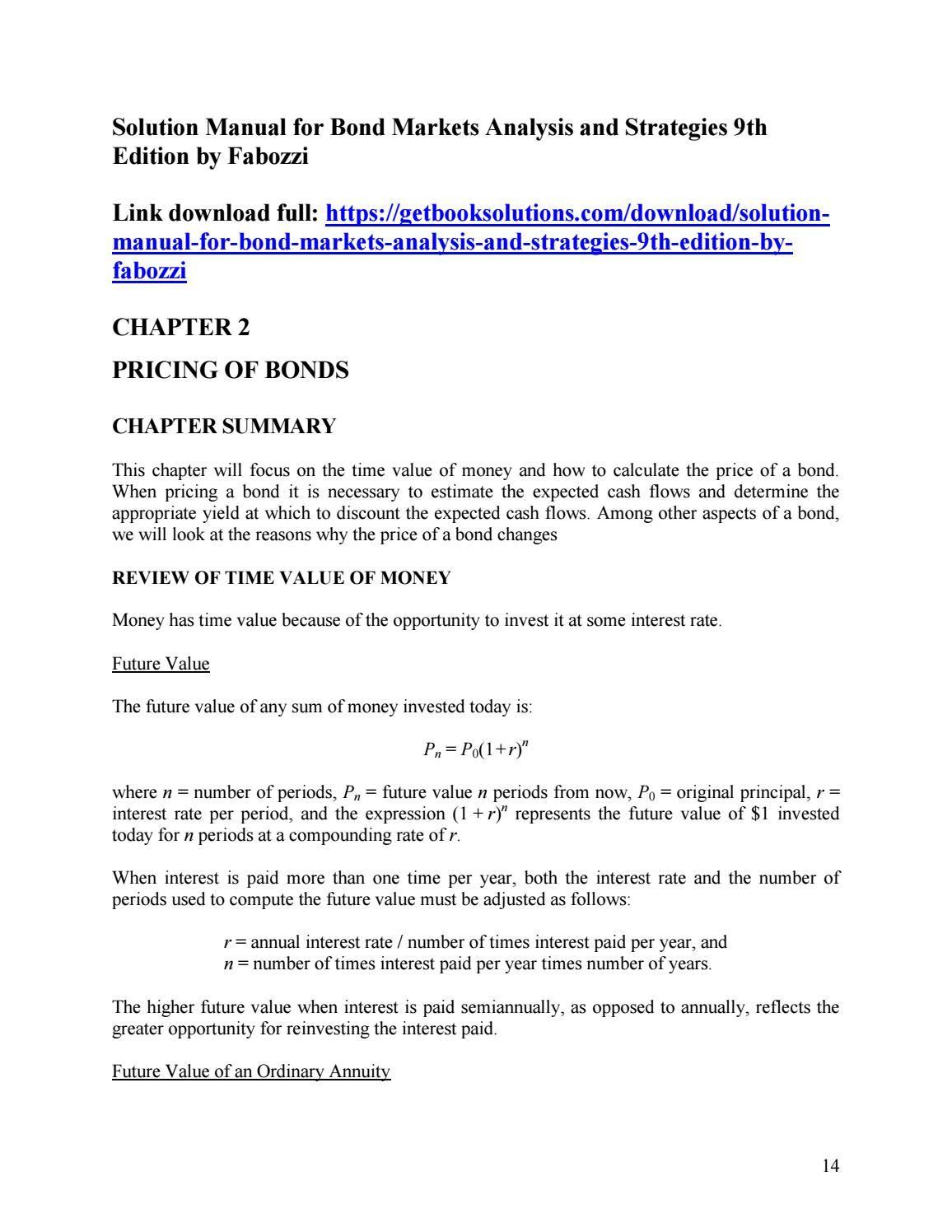solution manual for bond markets analysis and strategies 9th edition rh pinterest co uk By Frank J. Fabozzi Bond Portfolio Management Frank J. Fabozzi