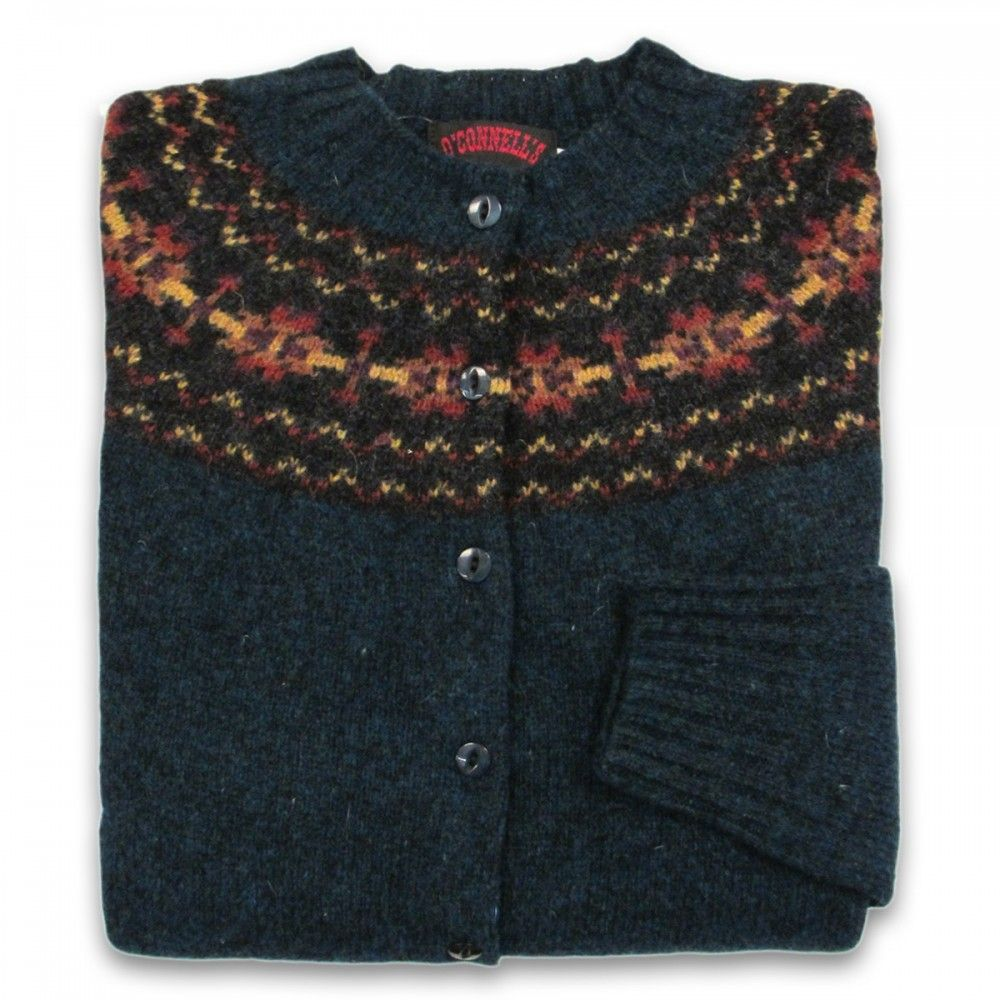 Women's Scottish Shetland Wool Fair Isle Cardigan Sweater - Petrel ...