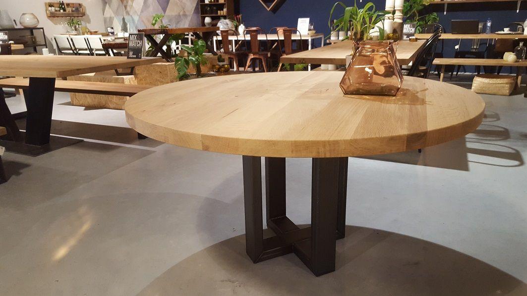 Ronde tafel robuust eiken bladdikte 50mm stalen for Ronde tafel diameter 160