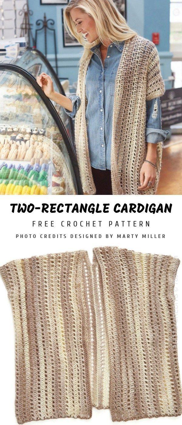 Strickjacke mit zwei Rechtecken häkeln | Musterzentrum  # #ponchosweater