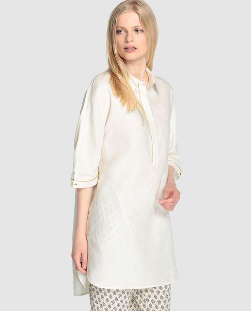 d365b78291e Blusón de lino de mujer Zendra El Corte Inglés en color blanco ...