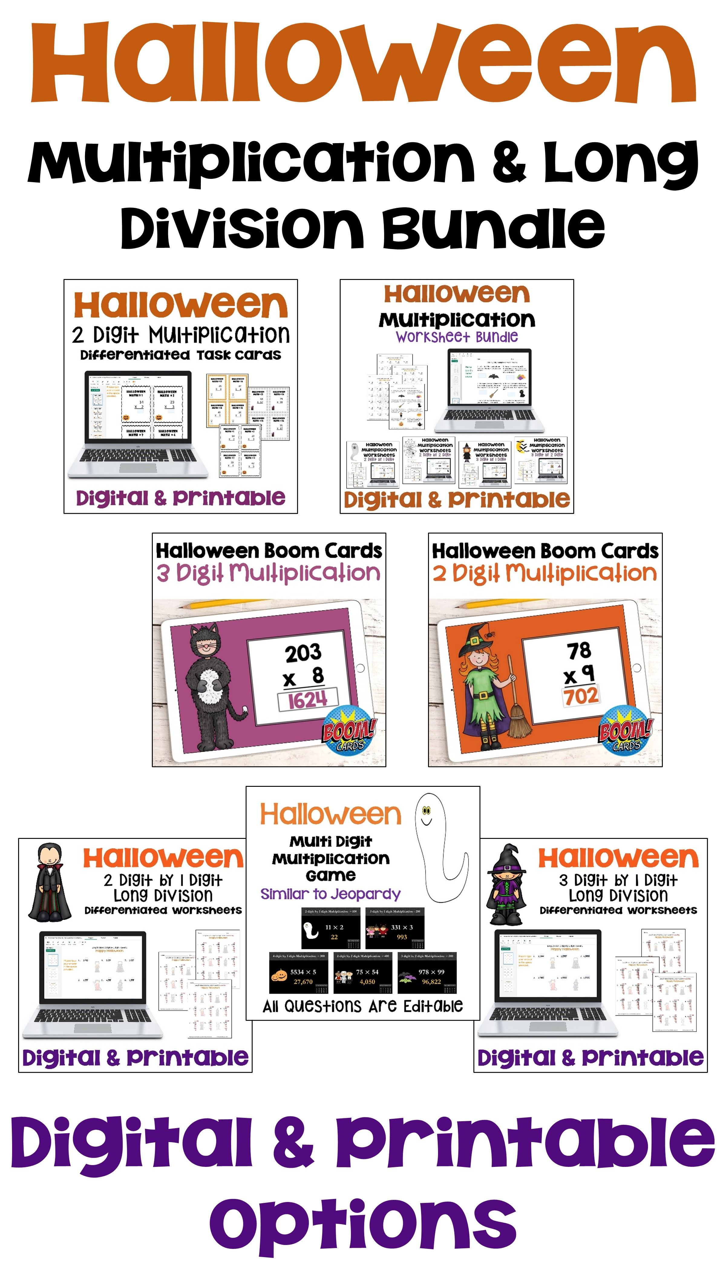 Halloween Multiplication Amp Long Division Bundle In