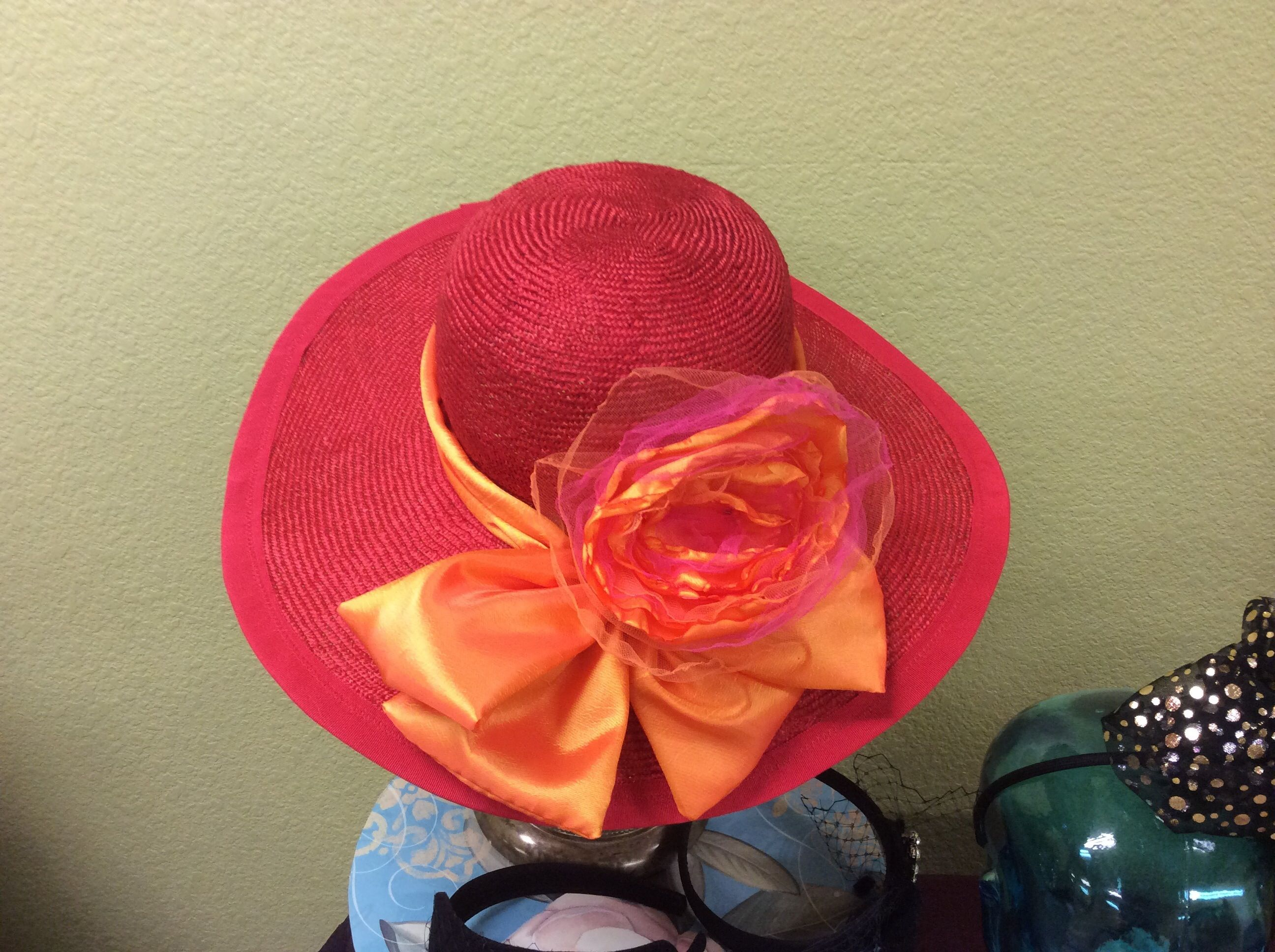 Beautiful Red Parasisal Straw With Large Brim Apricot Trim And Bow