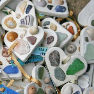 Tiny Sea Drift Hearts with shells?