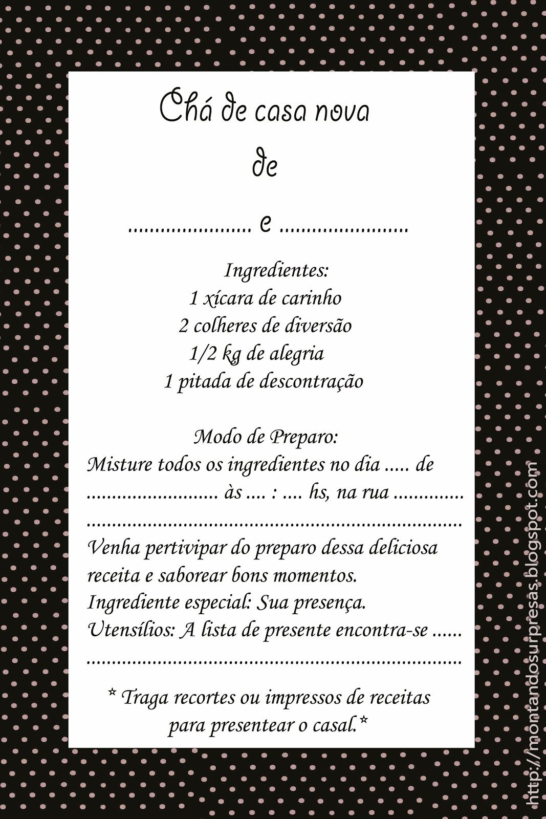 Montando Surpresas Convite Ch De Casa Nova Gratuito Ch De