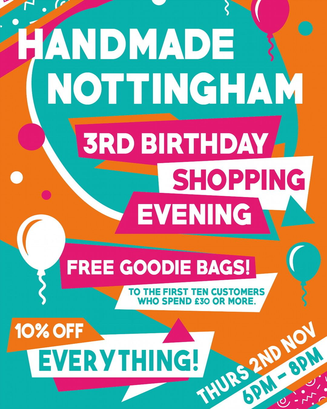 It's our Birthday next month! Come celebrate with us!  Perfect timing to start your Christmas shopping with 10% off everything AND goodie bags filled with treats from our amazing makers! . Poster designed by @fableandblack . . . #wearethree #shoppingevening #thirdbirthday #3rdbirthday #handmadenottingham #shopnotts #itsinnottingham #goodiebags #nottinghamcreatives #handmadeisbest #designermakers #supportindependent #nottingham #giftshop #shoplocal #shopnotts #lovenotts #nottingham