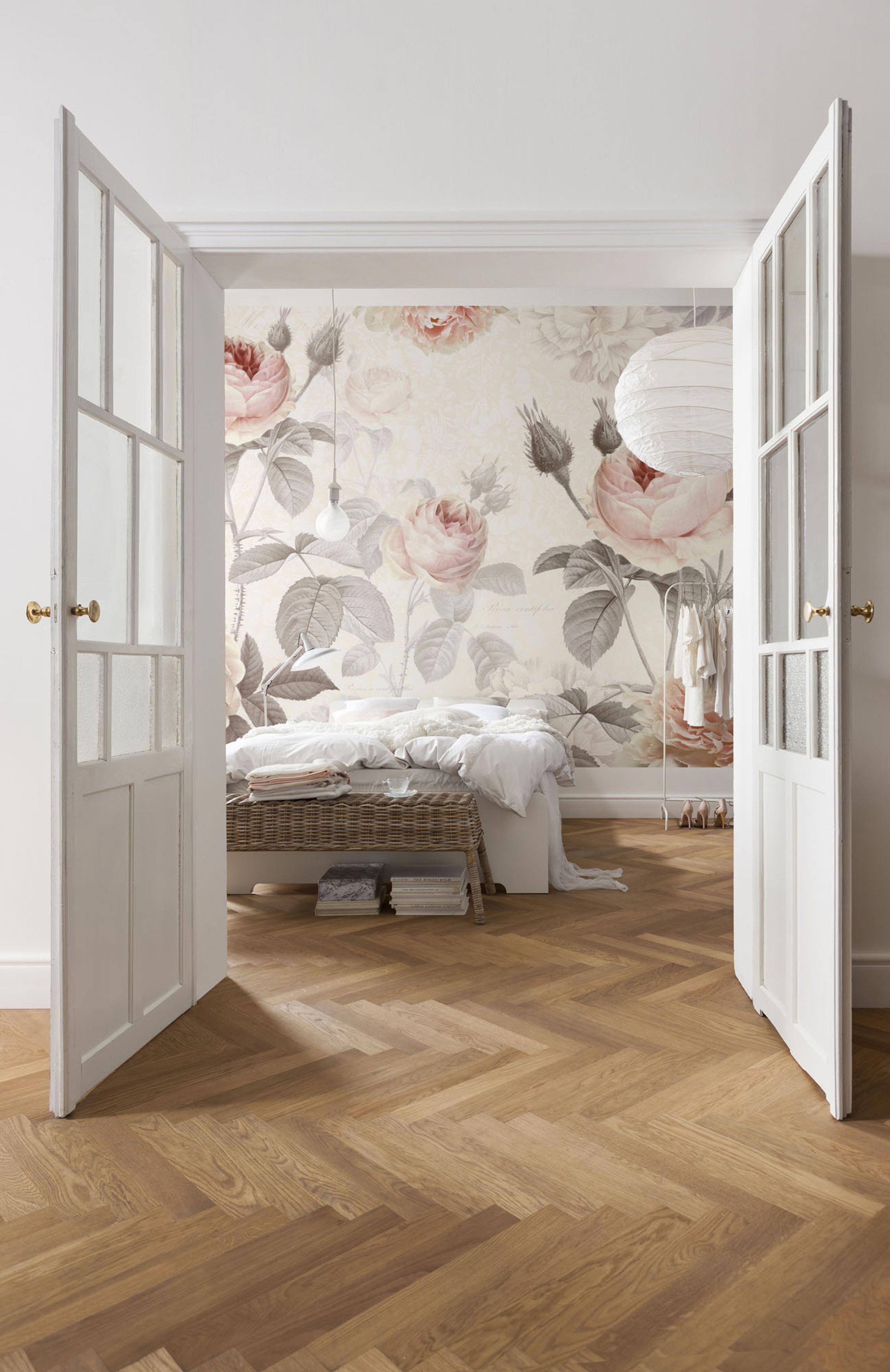 Modern Victorian large scale floral wallpaper white french