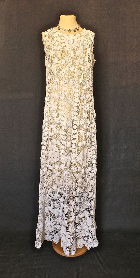 Beguiling Irish crochet dress from the 1930s. This lovely