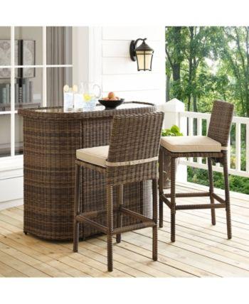 bradenton 3 piece outdoor wicker bar set bar and 2 stools with rh pinterest com