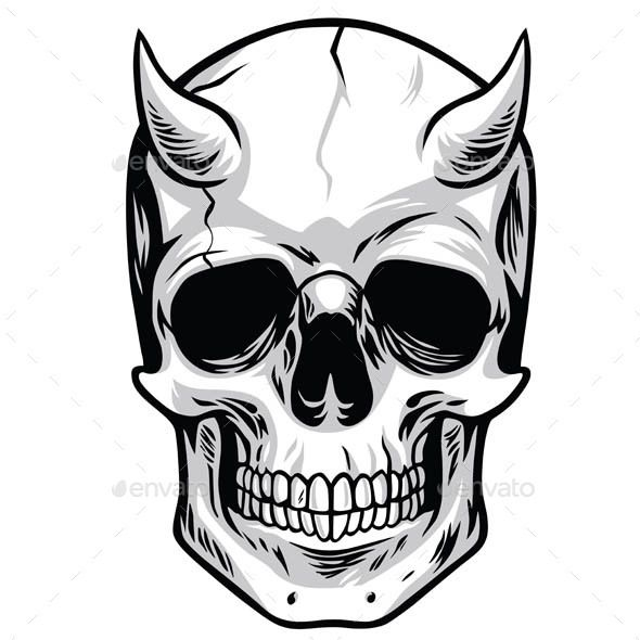 demon head skull vector tattoo illustrations and drawings rh pinterest ca vector skull and crossbones vector skull bones