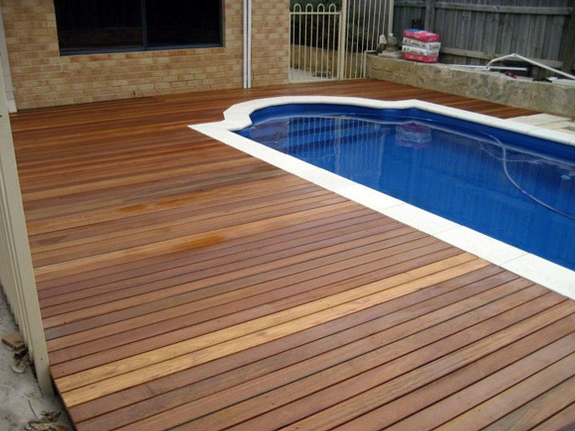 Engaging Ideas For Pool Deck Materials Dark Wood With Sapphire