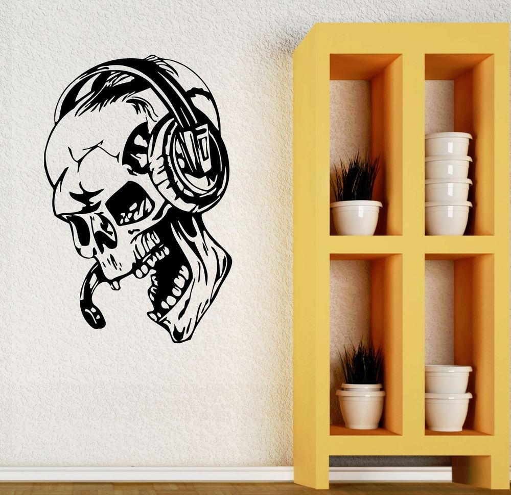 Gamer Wall Stickers Vinyl Decal Play Skull Music Headphones Video ...