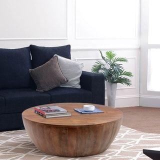 mango wood coffee table in round shape dark brown natural wood rh pinterest com
