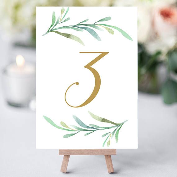 Greenery Wedding Table Numbers Printable Numbers In Gold 1 50 Etsy In 2021 Wedding Table Numbers Printable Wedding Table Numbers Template Diy Table Numbers