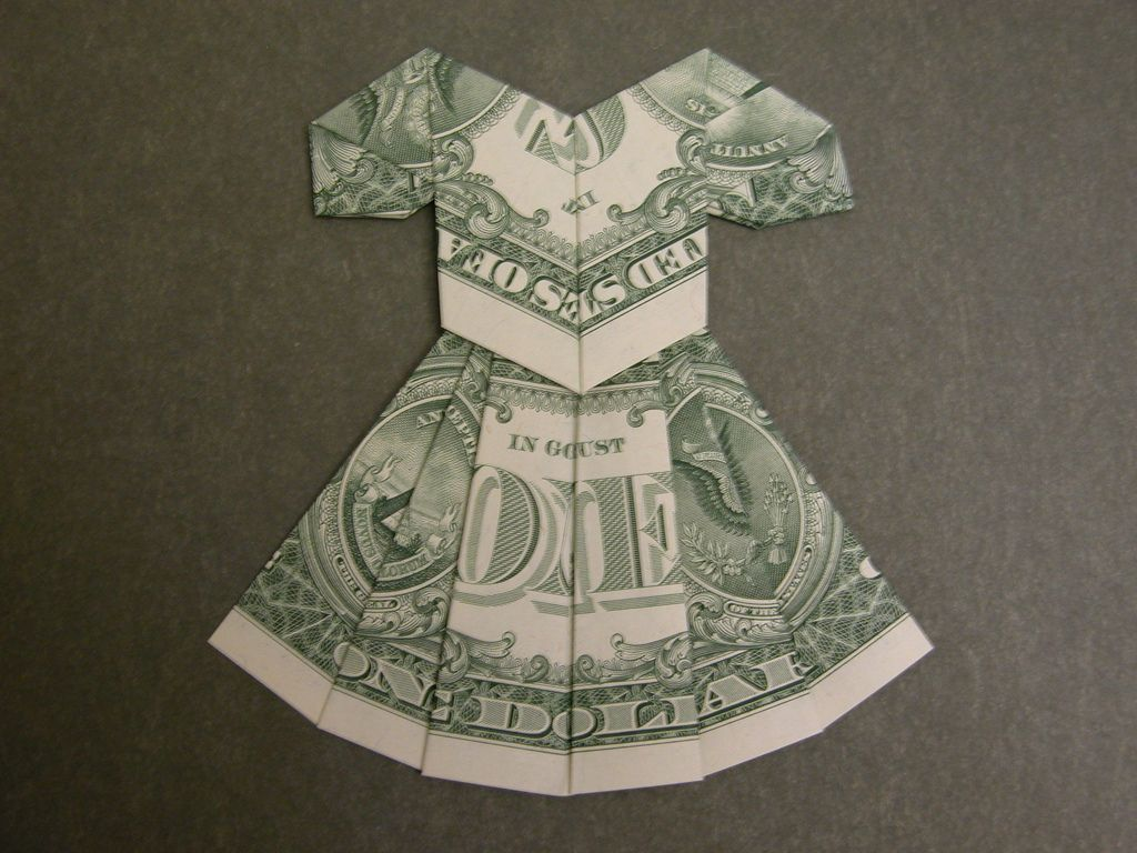Dollar bill dress | Origami, Gift and Craft