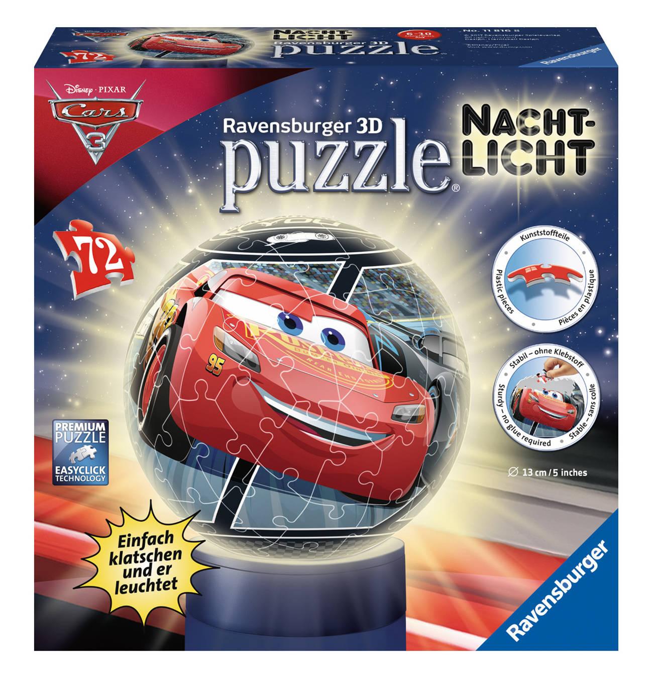 3d Puzzle Ball Nachtlicht 72 Teile Disney Cars Nacht Nachtlicht