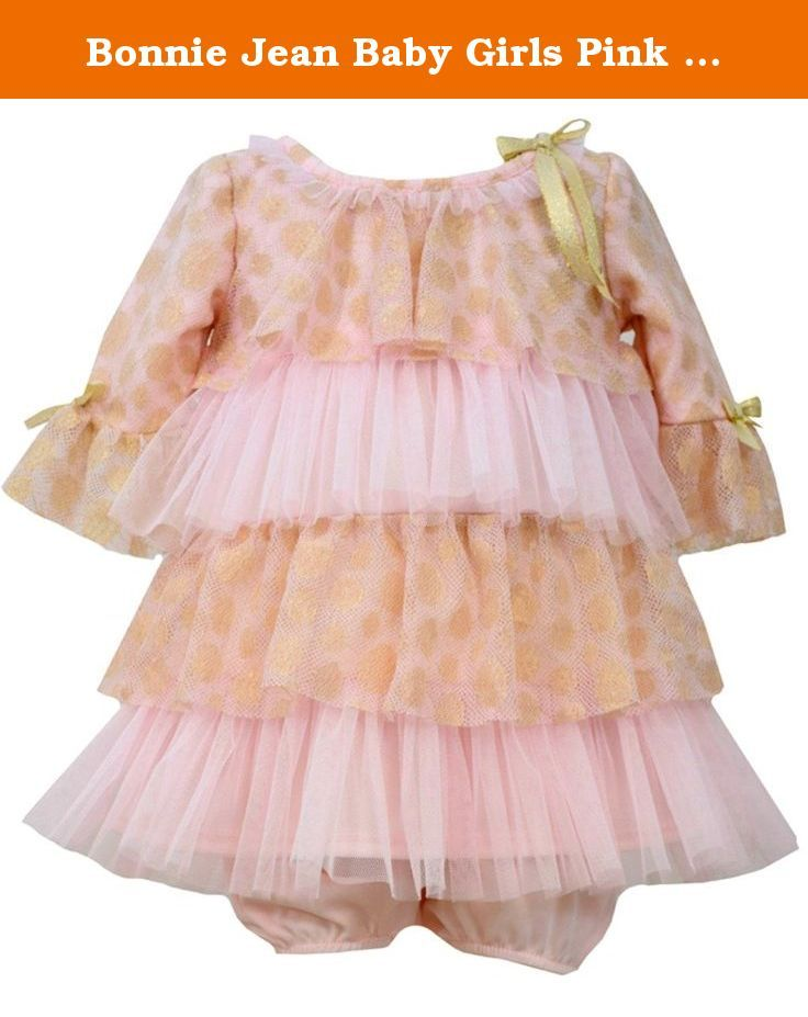 619dfb37fd2f Bonnie Jean Baby Girls Pink Gold Tiered Party Dress 0-3 months. Just ...