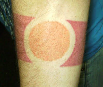 The tattoo represents Fire. It captures my before mentioned fire sign of Leo, which is ruled by the sun. The tattoo is an attempt to capture the notion of living in the world yet being separate from it, as to not get burned or be consumed by it. The circle in the tattoo represents the sun and myself and the red is the part of myself that struggles to find my way in the world.
