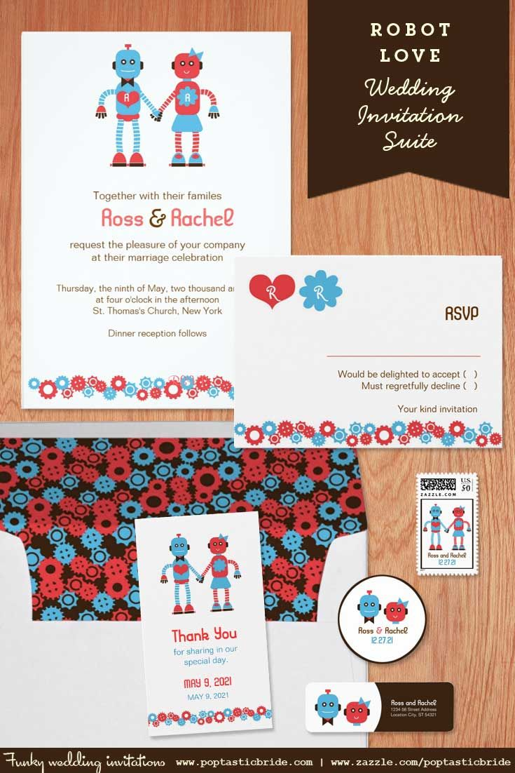 Robot Theme Wedding Invites