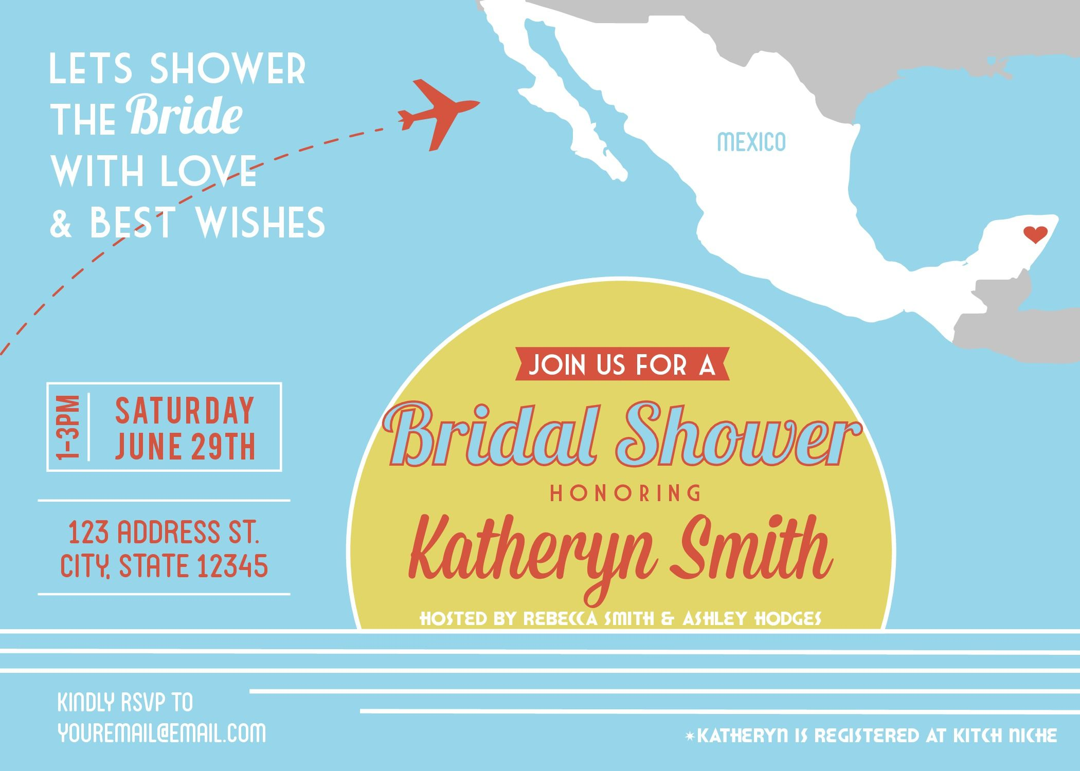 Bridal Shower Mexico Invitation Printable PDF Destination Wedding Or Elopement