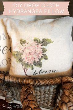 diy drop cloth hydrangea transfer pillow                                                                                                                                                     More