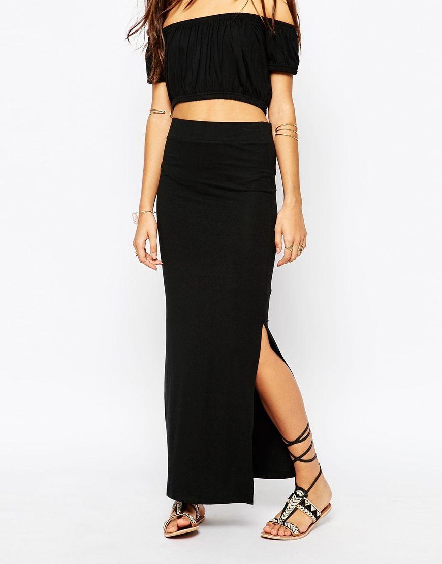 25506adab Modelos de falda larga con abertura   OUTFITS   Falda modelo, Faldas ...