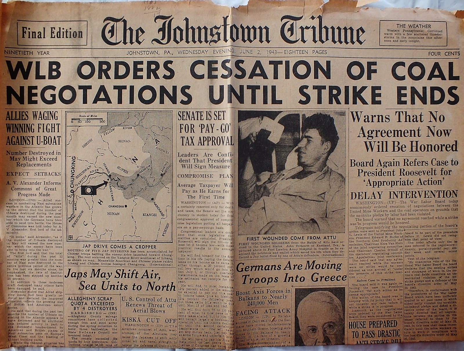 The Johnstown Tribune - World War II: June 2, 1943: WLB ORDERS CESSATION OF COAL NEGOTAT...