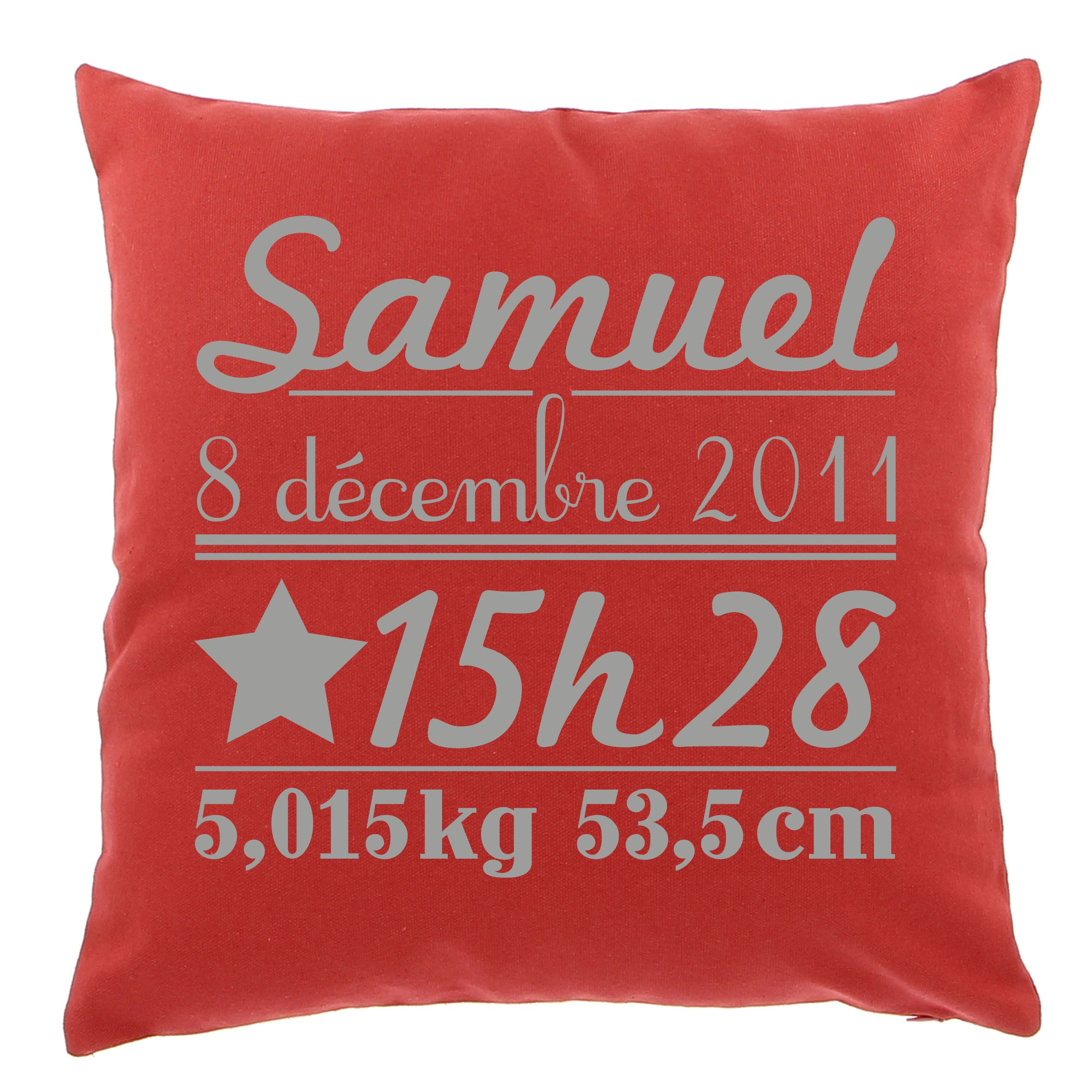 Coussin naissance Grand mod¨le by Matao Rouge personnalisation