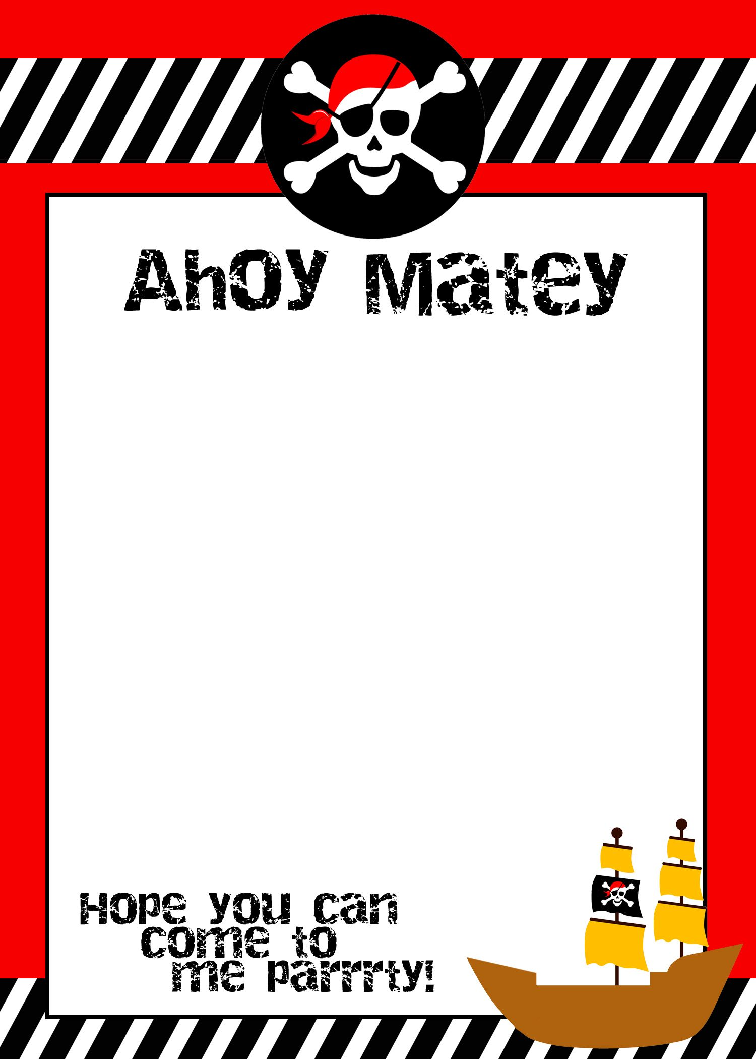 Pirate Themed Birthday Party with FREE Printables – Birthday Party Card Template