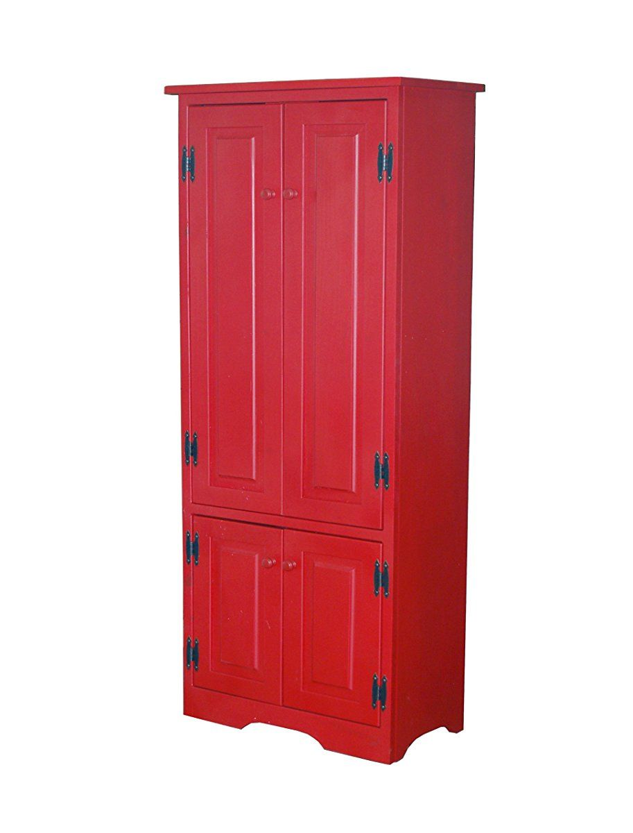 Target Marketing Systems Tall Storage Cabinet With 2 Adjustable Top Shelves And 1 Bottom Shelf Red Tall Cabinet Storage Wood Storage Cabinets Tall Kitchen Storage