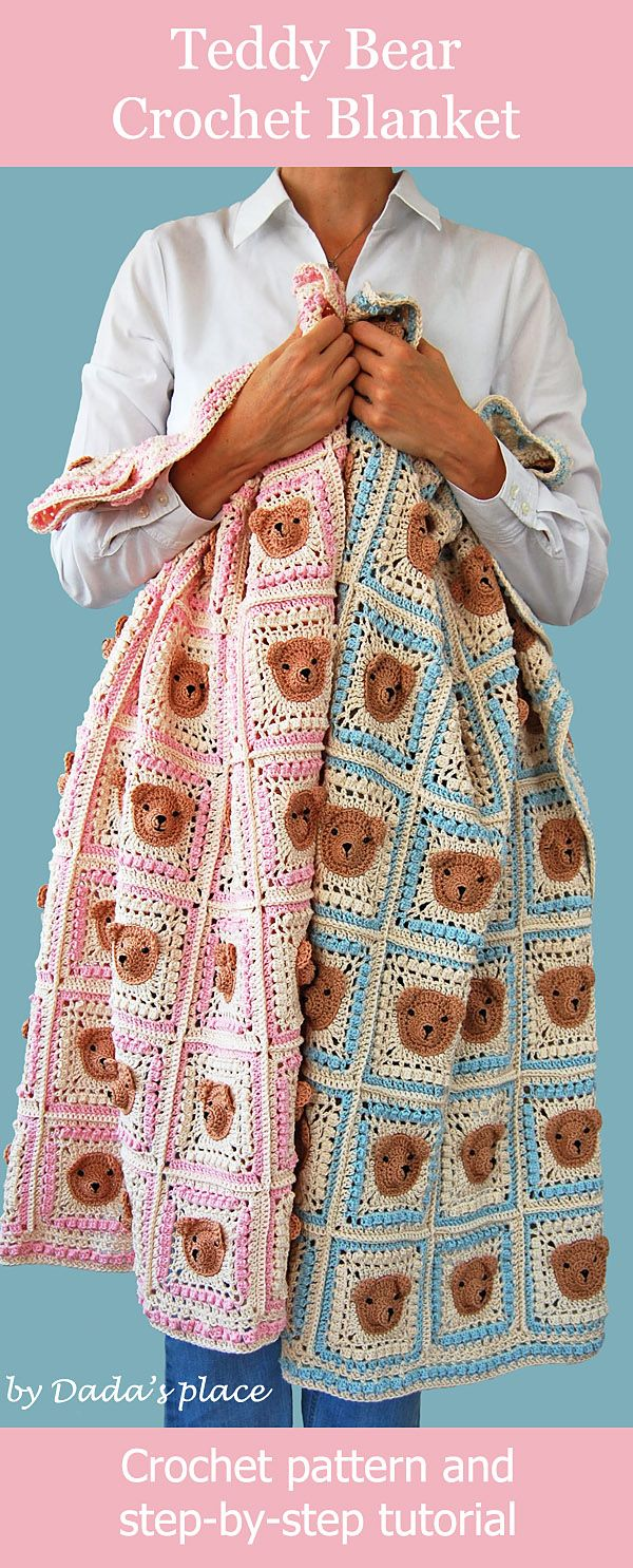 Crochet pattern: Teddy bear granny square blanket and step-by-step tutorial suitable even for beginners. Designed by Dada's place häkeln Teddybärdecke #häkeln #Teddybärdecke #crochetblanket #crochetforbeginners #crochetbearpatterns