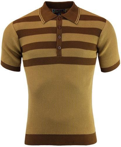 990b926a Terry fine ribbed short sleeve Men's Mod Polo Shirt in Caramel. Contrast  brown Retro chest and back stripes. Brown trim to the cuffs and hem.