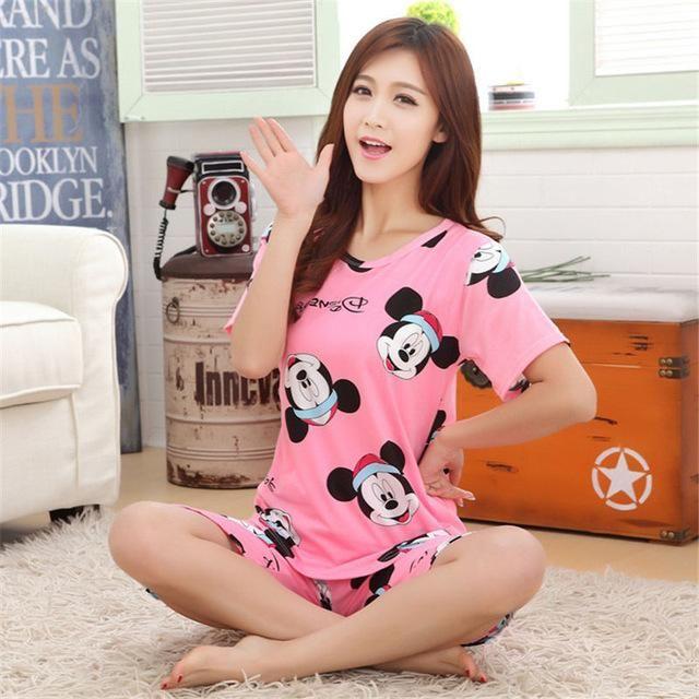 66025d0b1363 2017 Women Pajamas Sets Hot Summer Short Sleeve Thin Cotton Cartoon Print  Loose Sleepwear Girl pijamas Mujer Nightgown For Women