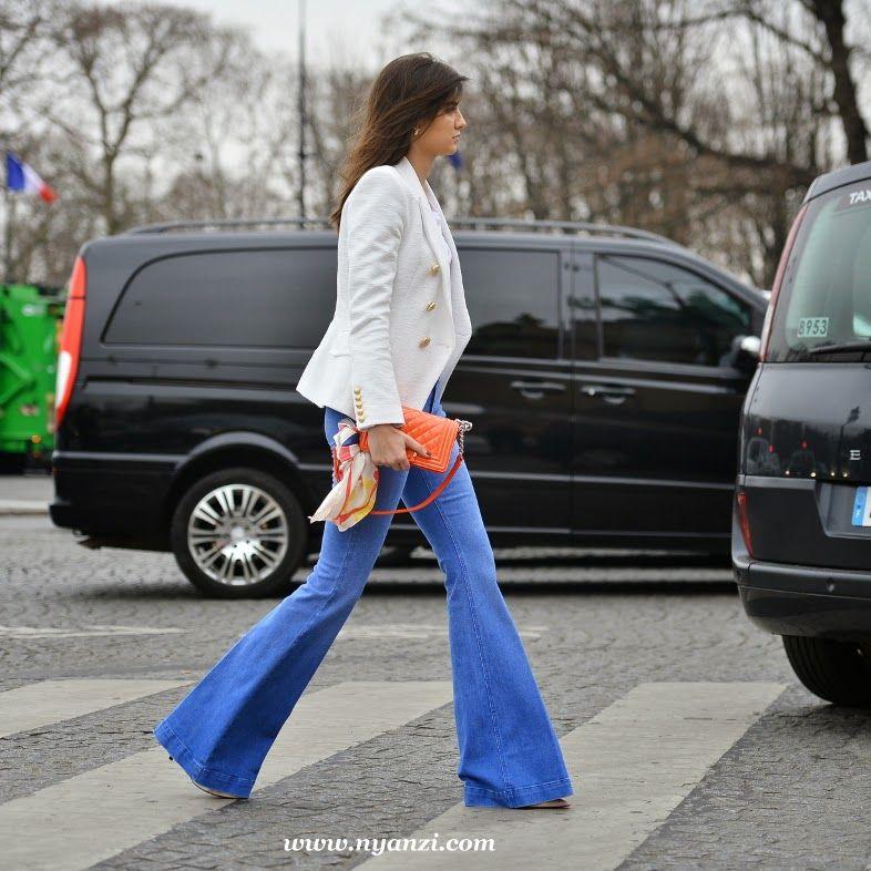 blazer & flared denim. Paris.