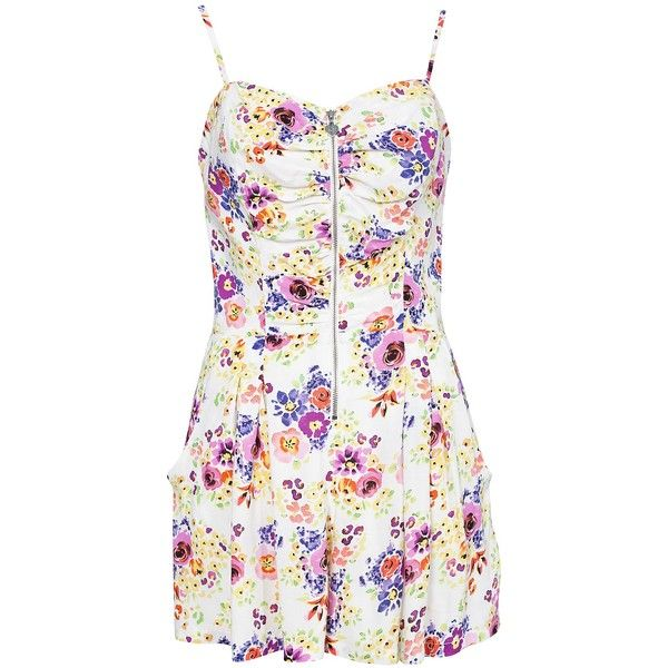 7971ef58196 Lipsy Zip Front Playsuit ( 65) ❤ liked on Polyvore Floral Playsuit