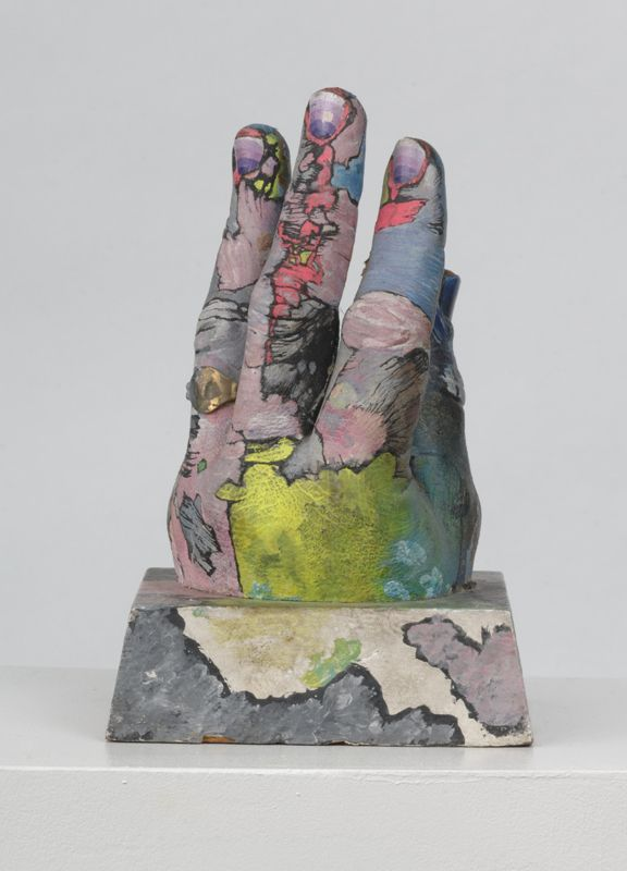 Paul Thek (1933-1988), Untitled (Hand with Ring), 1967. Wood, plaster, paint, and metal, 7 5/16 × 4 1/2 × 4 1/2 in. (18.5 × 11.5 × 11.5 cm). Collection of Ed Burns; on long-term loan to the Watermill Center. Photograph by Gary Mamay. © The Estate of George Paul Thek; courtesy of Alexander and Bonin, New York.