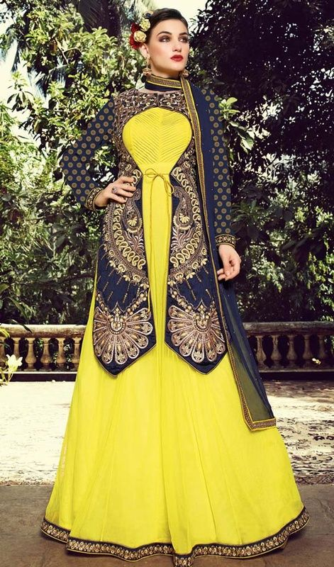 85b13a6a60 Make a striking entrance by sporting this navy blue and yellow bhagalpuri  silk net floor length Anarkali suit. The desirable butta, lace, resham and  sequins ...