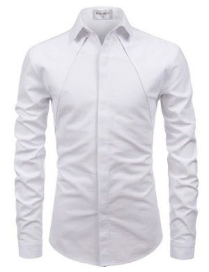 7ebc2321827 (NKS671) TheLees Mens Slim Fit Western Style Chest Line Hidden Buttons  Shirts