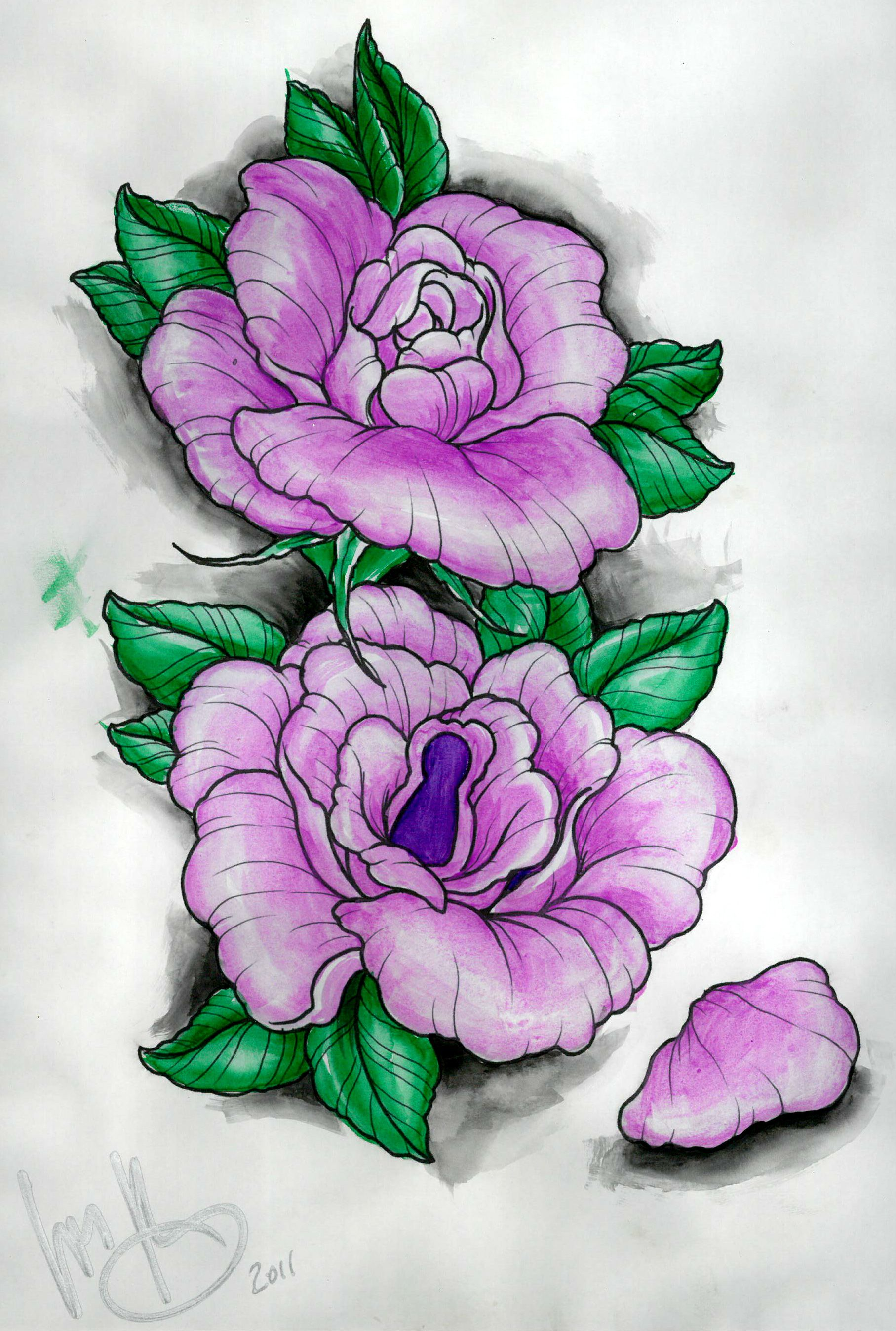 purple flowers tattoo design by louis molloy to win one of his