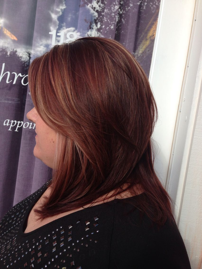 Mahogany All Over Color With Dark Blonde Highlights Hair