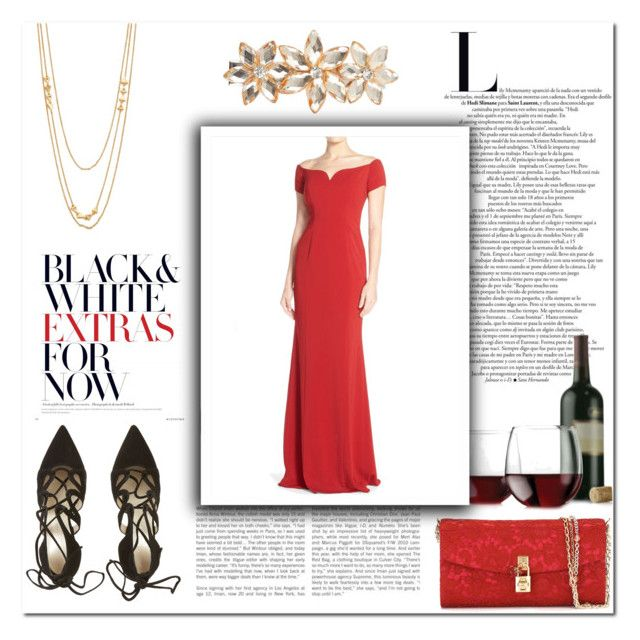 """""""Untitled 50"""" by emerald-writer-girl ❤ liked on Polyvore featuring Dolce&Gabbana, Libbey, Badgley Mischka, Gorjana, Dorothy Perkins, contest, red and gown"""