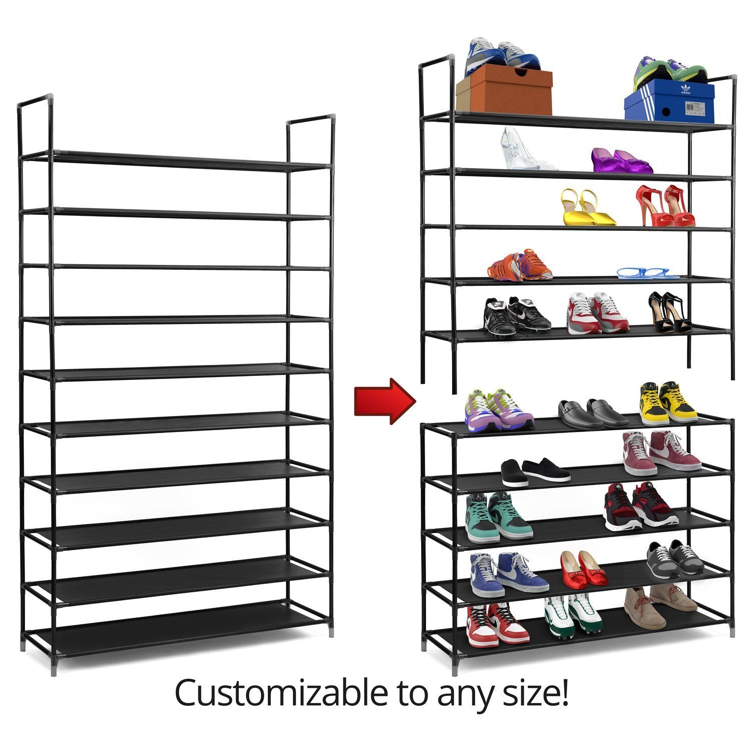 Amazon.com: Halter 10 Tier Stainless Steel Shoe Rack / Shoe Storage  Stackable Shelves