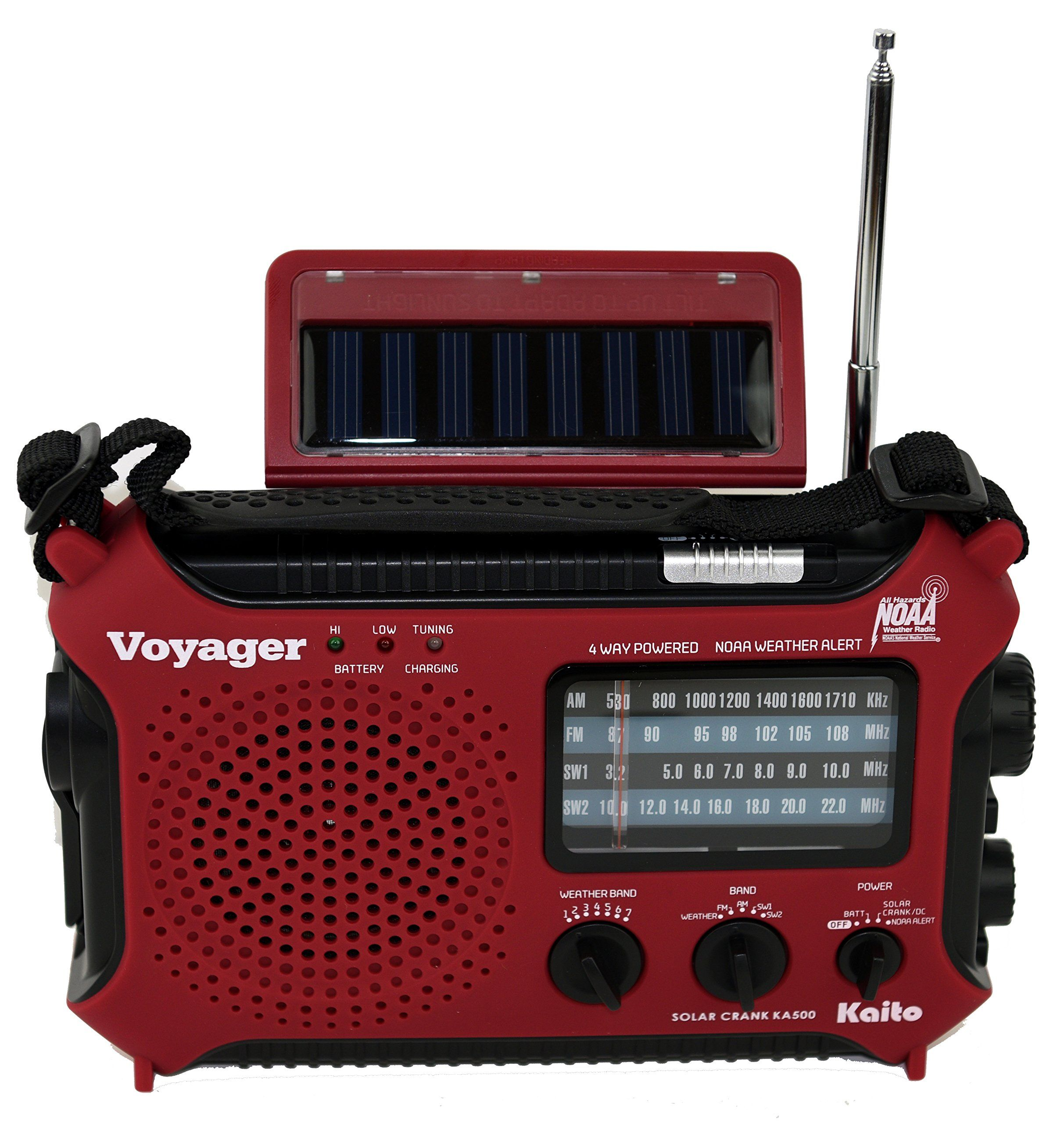 Kaito Ka500ip Red Voyager Solar Dynamo Am Fm Sw Noaa Weather Radio With Alert And Cell Phone Charger Red Emergency Radio Weather Radio Noaa Weather Radio