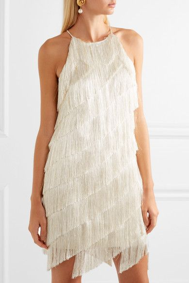7486e28ab7c9 Halston Heritage | Tiered fringed satin-crepe mini dress | NET-A-PORTER.COM