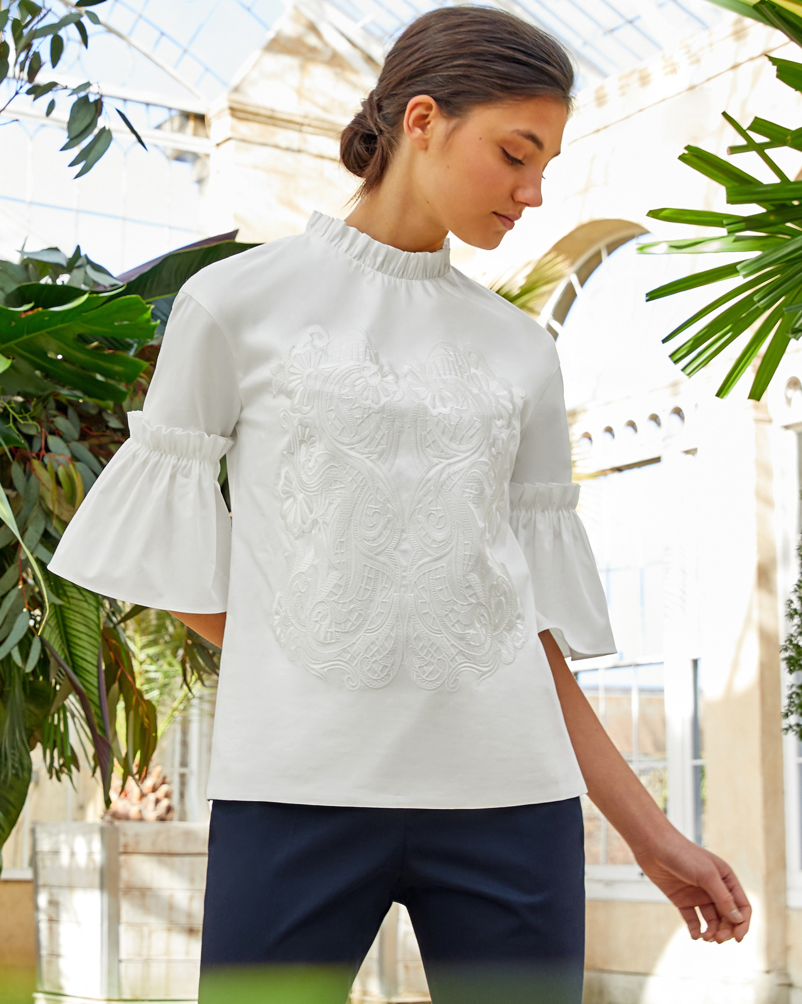 1267c83ae7cc4b GLARINA Ruffle sleeve high neck cotton top. Stunning embroidered top ...
