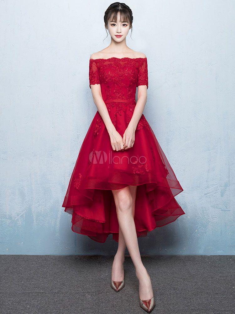 038125efe9 Vestido de Baile de color borgoña con escote de hombros caídos De banda de  encaje de línea A con manga corta de encaje