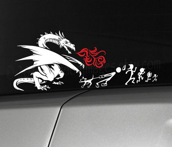My dragon torched your stick family car decal, laptop decal, vinyl decal,  sticker. At Valdon Images we offer a huge variety of custom high quality