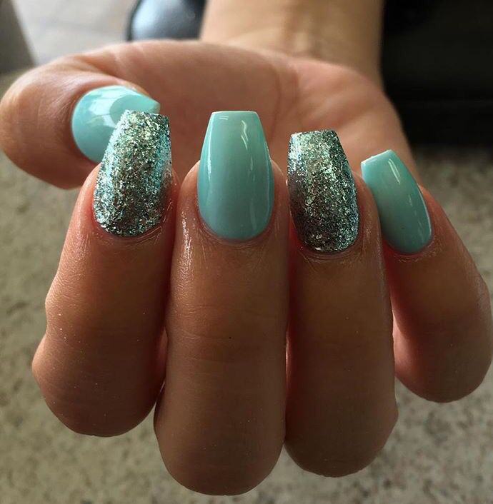 Teal Acrylics With Glitter Accent Nail